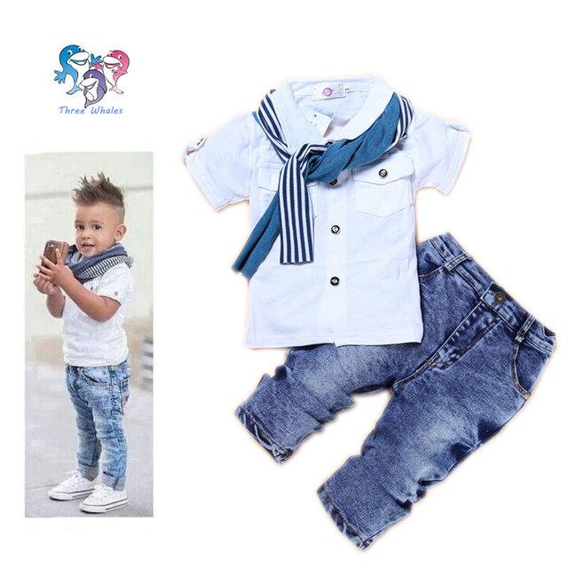 Meninos Conjunto de Roupas de Algodão Crianças Roupas de Designers Boutique Lenço Meninos Marca de Roupas de Bebê Menino Roupas de Verão Crianças Terno