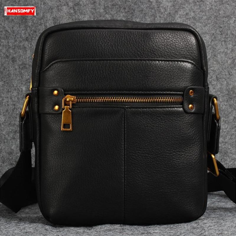 2019 new casual Genuine leather men's shoulder bag black Cowhide leather crossbody bag men retro small square messenger bags