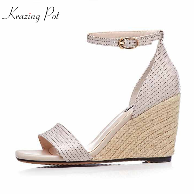 krazing pot new arrival open toe genuine leather straw brand shoes women high heels wedges increased solid colors sandals L06