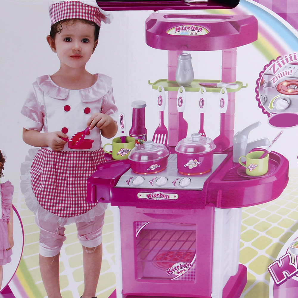 Kids Kitchen Toys Set Large Kitchen Cooking Simulation Model PlayToy Tableware Table Model Utensils Toys for Baby Gift Funny
