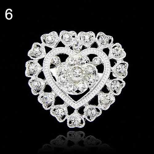 Panas Wanita Bunga Hati Berlian Imitasi Berlapis Perak Bros Pin Pernikahan Bridal Broach Breastpin Bros Wanita Perhiasan