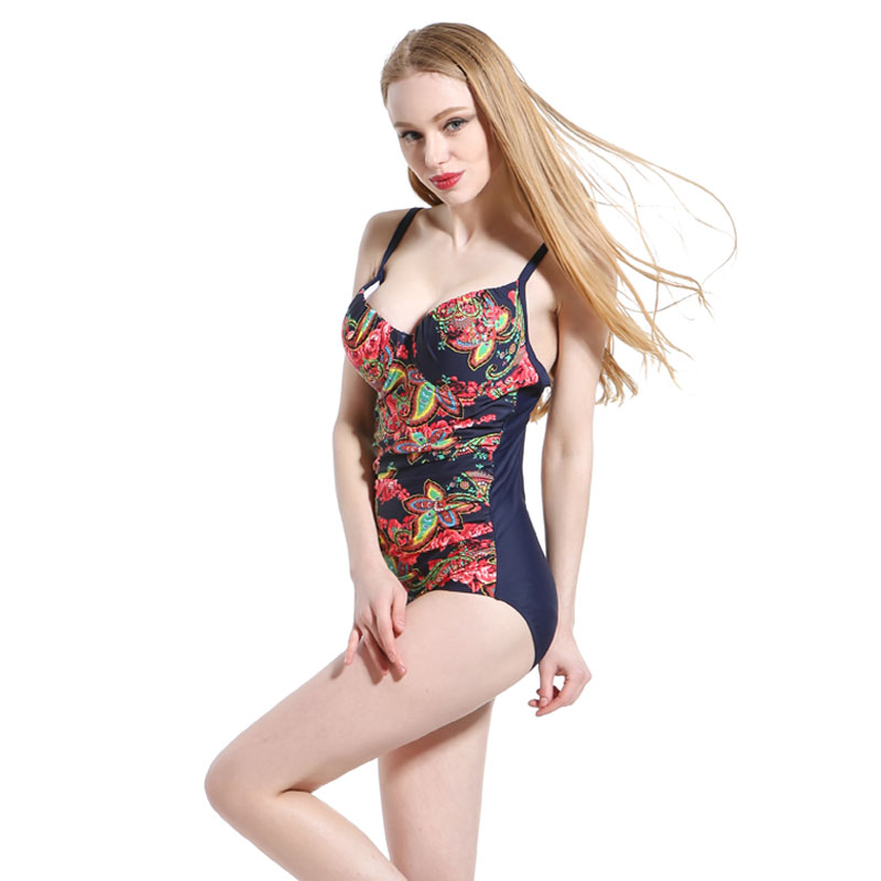 2017 New Plus Size Swimsuit One Piece Swimwear Women Girls Summer Big Size Beachwear Sexy Printed Bathing Suit plus size scalloped backless one piece swimsuit