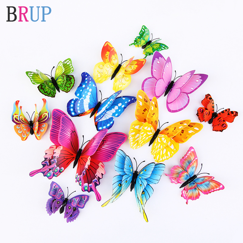 Multi Color 3D Double Layer Butterfly Wall Stickers For Home Decoration Wall Decal Butterflies For Party Living Room Bedroom