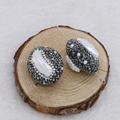 Natural pearl beads black cz with big natural pearl charm beads  handcrafted side hole druzy beads Gems jewelry for women 754