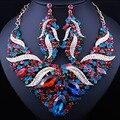 Jóia do casamento banhado a Ouro de cristal Cheio de strass conjunto declaração colar Clássico Africano conjuntos de jóias de noiva