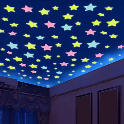 HTB1p3vzQVXXXXXcaFXXq6xXFXXXE - 100pcs Fashion Wonderful Solid Stars Moon Glow in the Dark For Bedroom