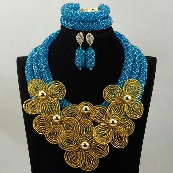 2017 Nový příchod modrá krása šperky sada africká nevěsta křišťál květinový kostým náhrdelník sada květ brož brož Doprava zdarma HX874