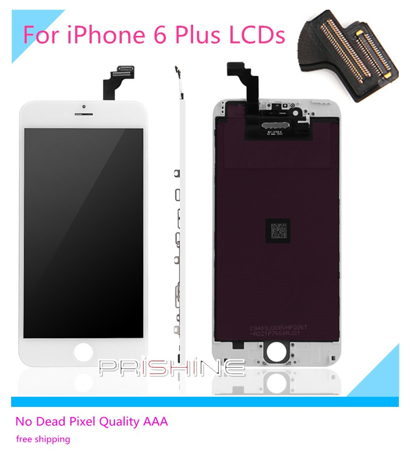 ФОТО For iPhone 6 Plus LCD 5 PCS/LOT None Spot AAA  Full Assembly with Screen Replacement Lens Pantalla Black White Free DHL Shipping
