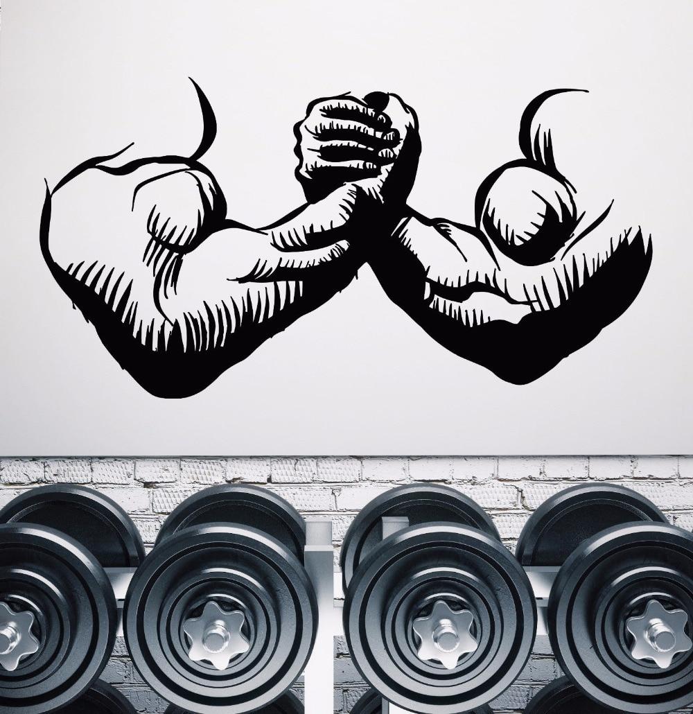 Gym Muscles Man Hands Room Decoration Bodybuilder Beautiful Body Wall Sticker Vinyl Art Removable Poster Mural Stickers W98 in Wall Stickers from Home Garden