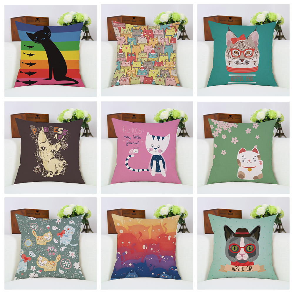 cute cat cushion cover kawaii cherry modern throw pillow case for sofa couch square rectangle almofada cotton linen cojines