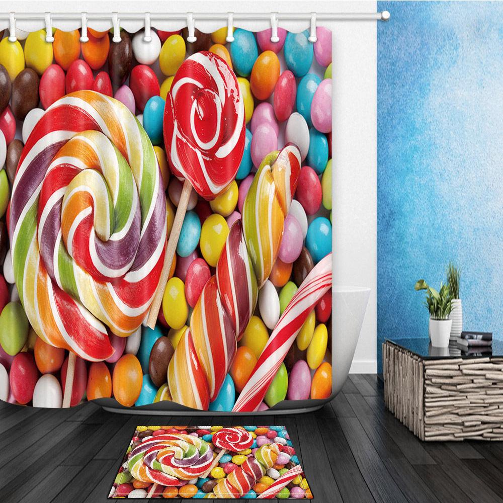 Colorful lollipop Waterproof Polyester Fabric Shower Curtain & Bath Mat 12Hooks