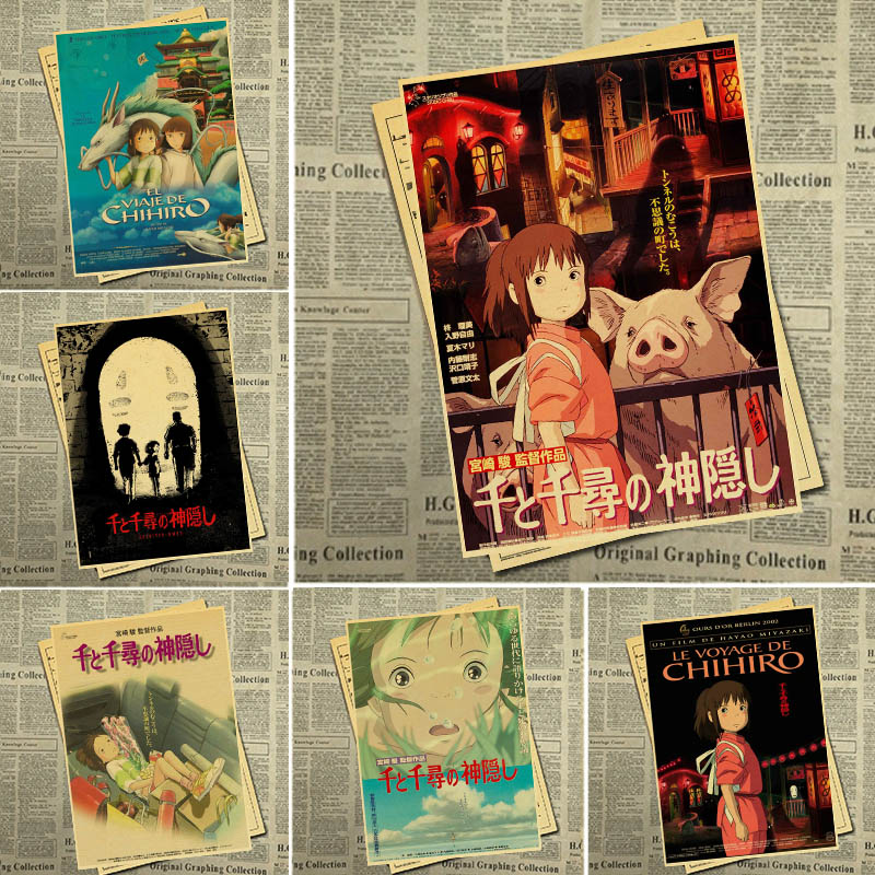 Ghibli Miyazaki Hayao Animation Spirited Away Retro Poster Vintage Poster Wall Decor For Home Bar Cafe Forkid Room