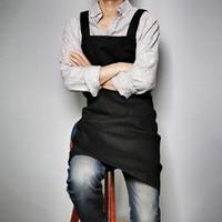 Longue Brun Noir Coton Tablier Accueil Cuisine Cuisson Peinture Artisanat Vêtements de Travail Café Barista Restaurant Restauration Uniforme B88
