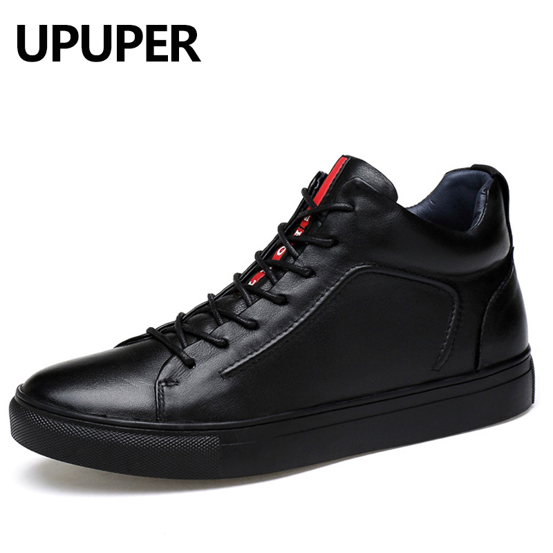 Black Genuine Leather Men Casual Shoes Large Size 37-47 Winter Warm Men Shoes 2018 Fashion Lace-up Flat Sneakers For Male 2018 new fashion luxury brand men loafers winter fur warm sneakers genuine leather high quality lace up black casual shoes 38 44