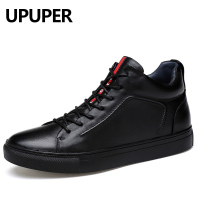 Genuine Leather Men Casual Shoes Large Size 37 47 Spring Autumn Winter Warm Shoes Men 2018 Fashion Lace up Flat Sneakers