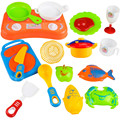 18pcs Plastic Kids Children Kitchen Utensils Food Cooking Pretend Play Set Toy Action Toys Christmas Gift