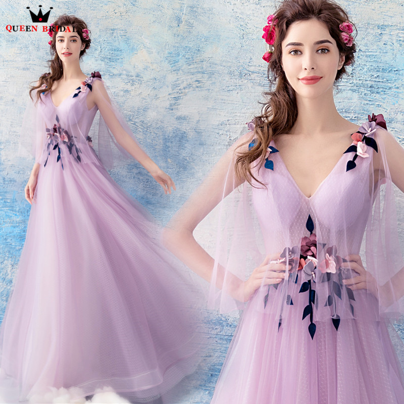 A line V neck Flowers Tulle Long Formal Elegant Purple Evening Dresses 2018 New Design Party Prom Dress Evening Gown WS87