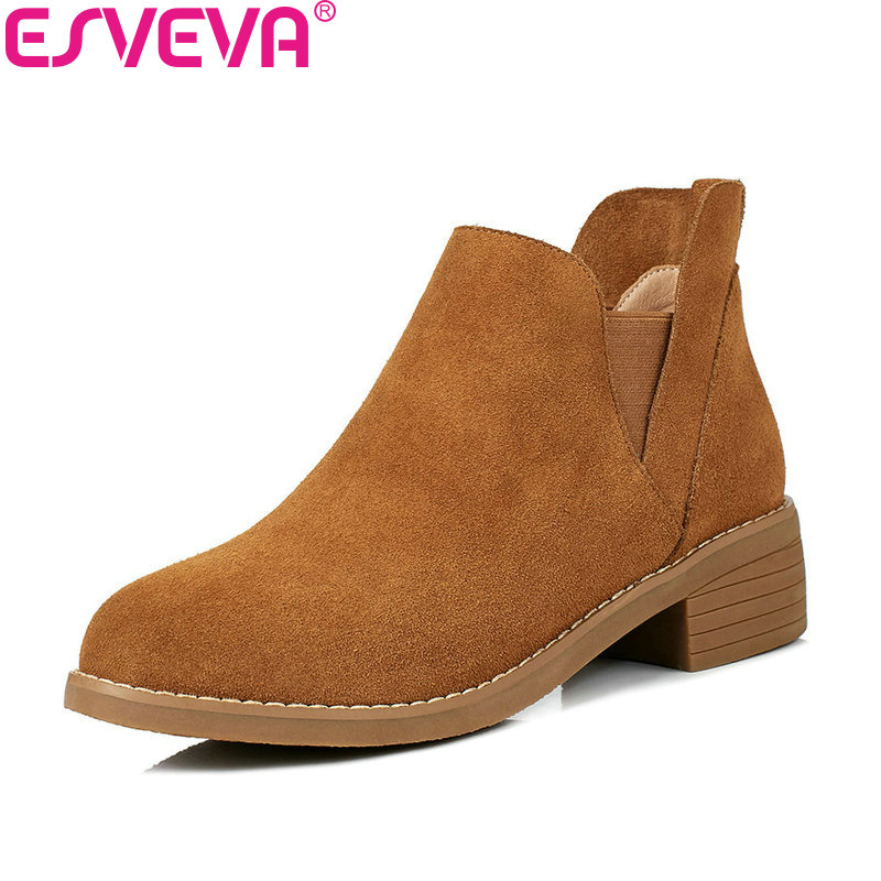 ESVEVA 2018 Women Boots Slim Look Cow Suede Square Med Heel Out Door Ankle Boots Lining PU/synthetic Ladies Boots Size 34-40