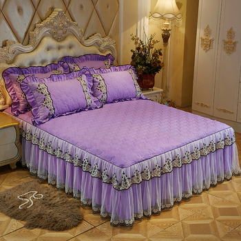 100% cotton bed skirt with cotton lace bedspread bed sheet for wedding princess bed cover purple bedding Pillowcases 1/3pcs