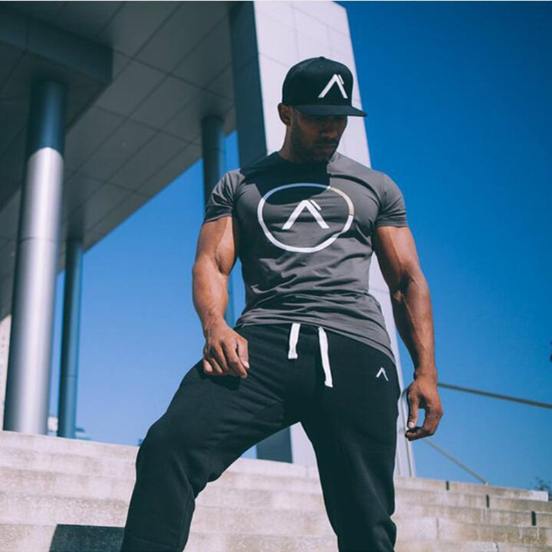 ALPHA summer new men cotton Short sleeve   t     shirt   Fitness bodybuilding   shirts   Crossfit male Brand tee tops Fashion casual clothes