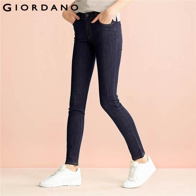 d7c5488669 Giordano Mujeres Jeans Solid Slim Fit Jean Pantalones Pantalones Elásticos  Vetement Femme Ropa Vaquera prendas De