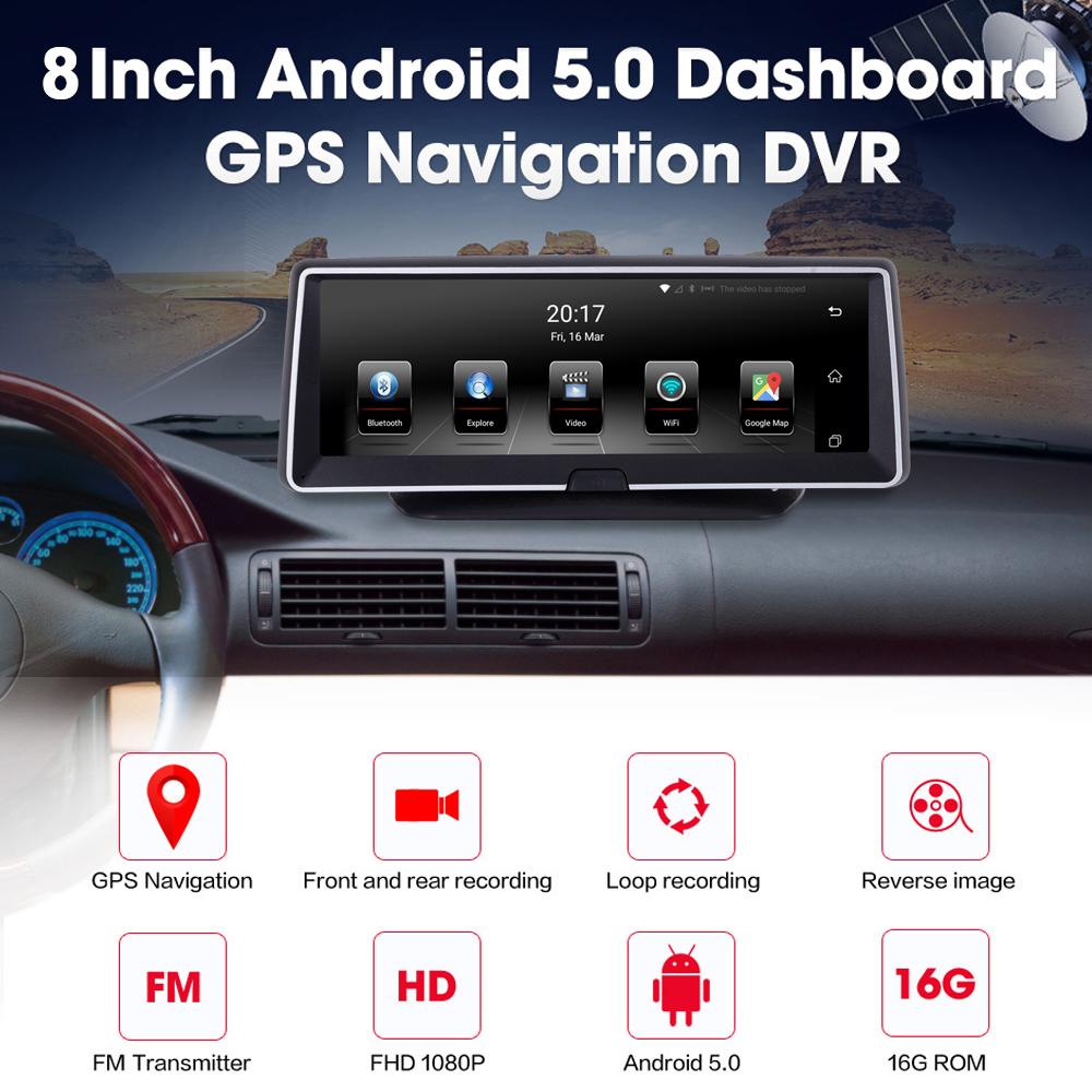 XGODY Rear-View-Camera Gps Navigation Android Touch-Screen Wifi Bluetooth Dash 8inch