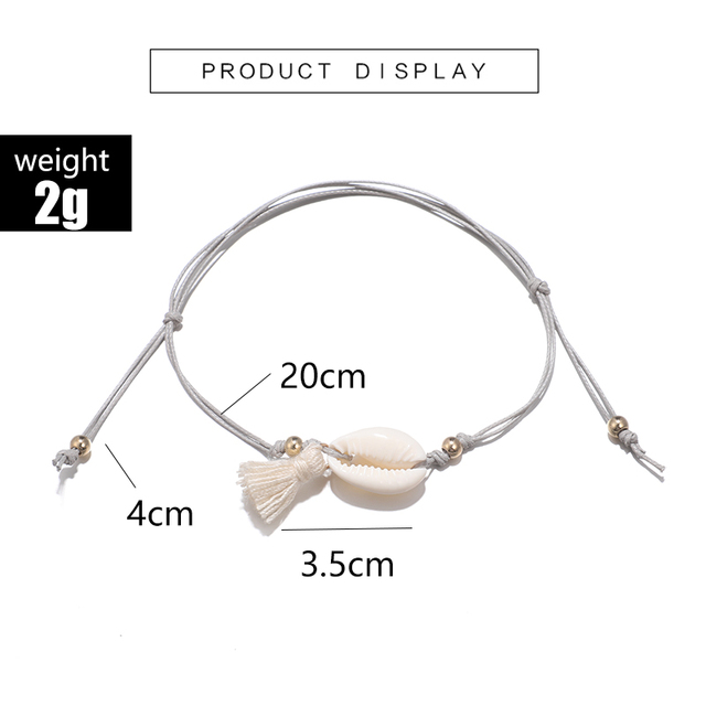 docona Boho Tassel Shell Pendant Gray Rope Adjustable Anklets Bracelets Beach Foot Jewelry 3