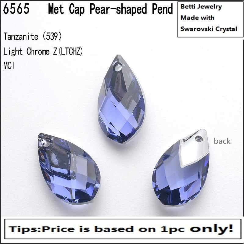 2019 new crystal from swarovski design 6565 Metallic Cap Pear-shaped Pendant for DIY jewelry
