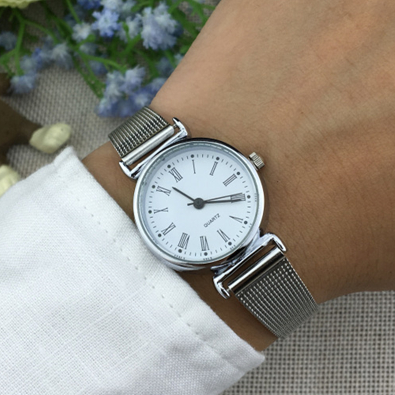 BGG New Fashion Small Dial Ladies Wristwatches Women Quartz Stainless Steel Strap Casual Watches simple Famale Dress Clock hours 2017 new gift enmex hit color steel frabic strap creative dial changing patterns simple fashion for young peoples quartz watches