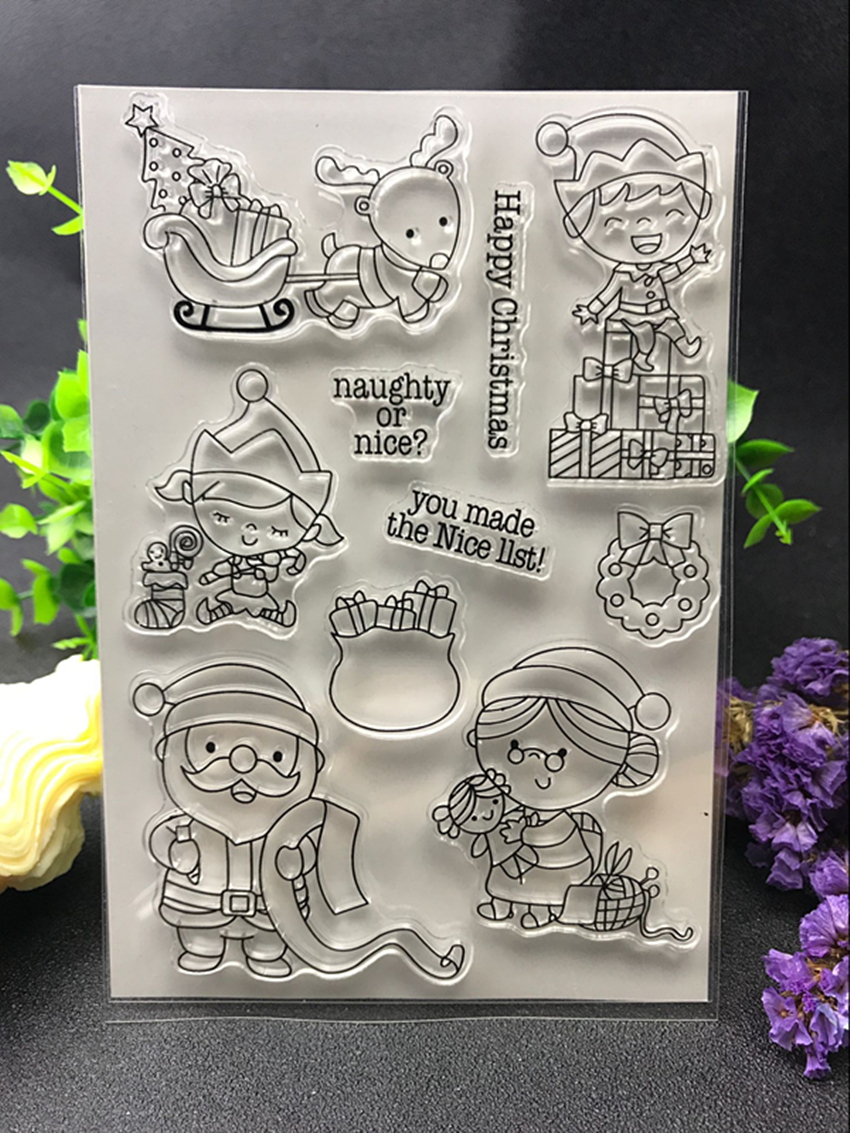 HAPPY CHRISMAS Transparent Clear Silicone Stamp/Seal for DIY scrapbooking/photo album Decorative clear stamp sheets X124