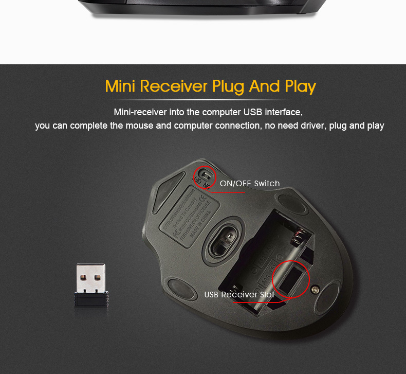 iMice Wireless Mouse 4 Buttons 2000DPI Mouse 14