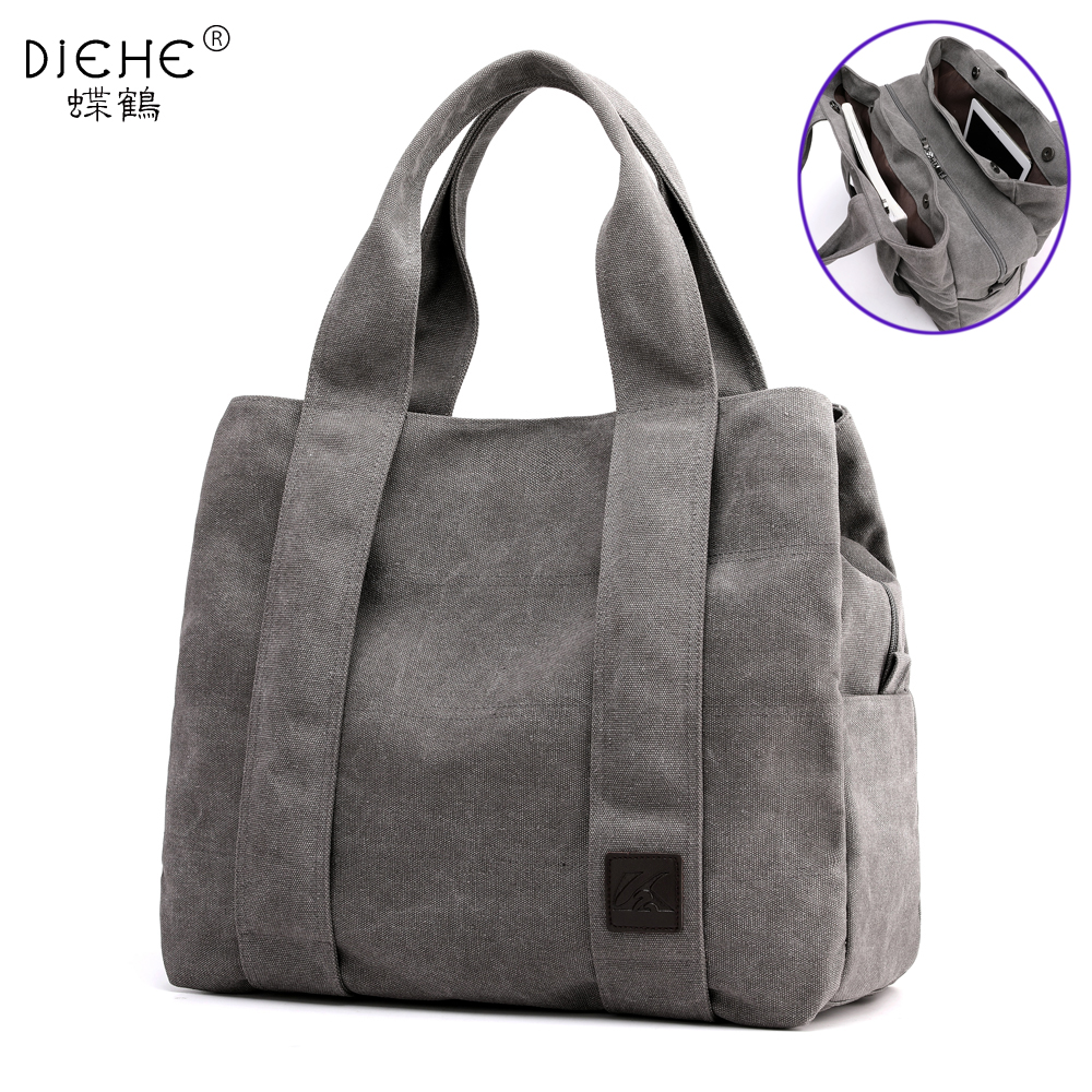 Woman Canvas Handbags Casual Lady Big Capacity Shoulder Bags Girls Crossbody Pack Vintage Solid Multi-pocket Ladies Totes Bolsas