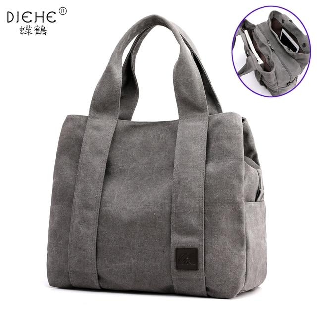 Woman Canvas Handbags Casual lady Big Capacity Shoulder Bags Girls Crossbody Pack Vintage Solid Multi pocket Ladies Totes Bolsas