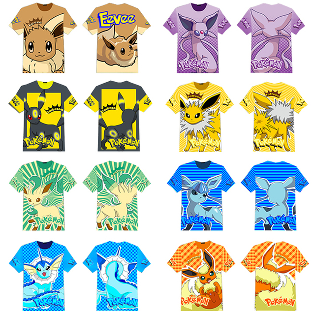 ae69a73d Game Pocket Monster Pokemon Eevee Espeon Jolteon Flareon T-shirt Full  Printed Tee Tops Short