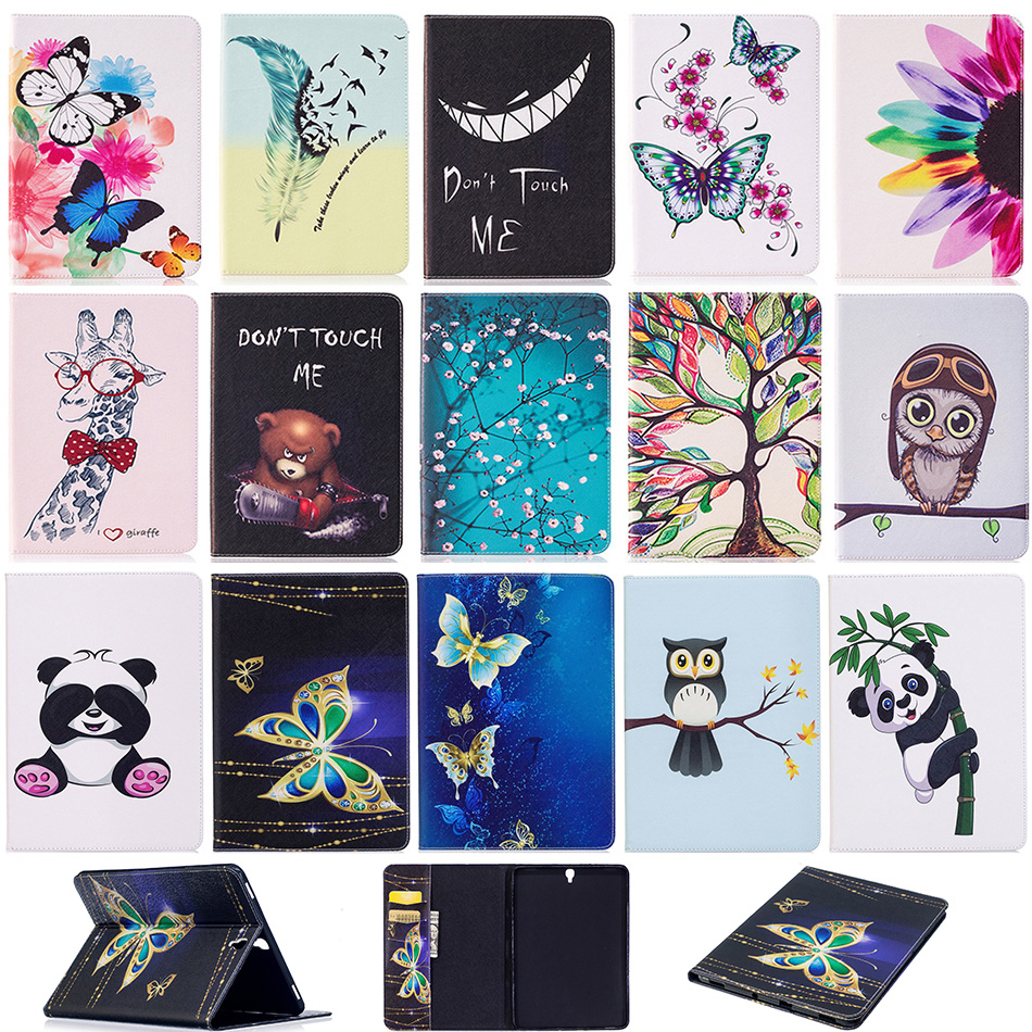 Fashion Pattern PU Leather Wallet Flip Case for Samsung Galaxy Tab S3 S 3 TM-T820 T820 T825 T829 9.7 inch Protector Cover B120 new luxury pu leather case for samsung galaxy tab s3 9 7 t820 t825 flip stand cover tablet case for samsung galaxy tab s3 t820