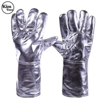 KIM YUAN Set Aluminum Foil Fireproof Gloves Flexible Full Finger Heat Insulation Gloves Fire Resistant Safety Gloves uo to 500 C