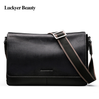 Luckyer Beauty 100% натуральная кожа мужская Сумка повседневная черная сумка через плечо деловые мужские сумки для подарка сумки на плечо