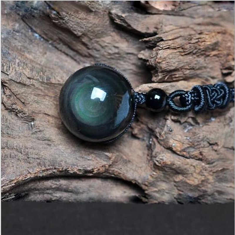 Naturalny czarny obsydian Rainbow Eye Transfer wisiorek z koralików naszyjnik kobiety dobrej szczęście biżuteria mężczyzna prezent