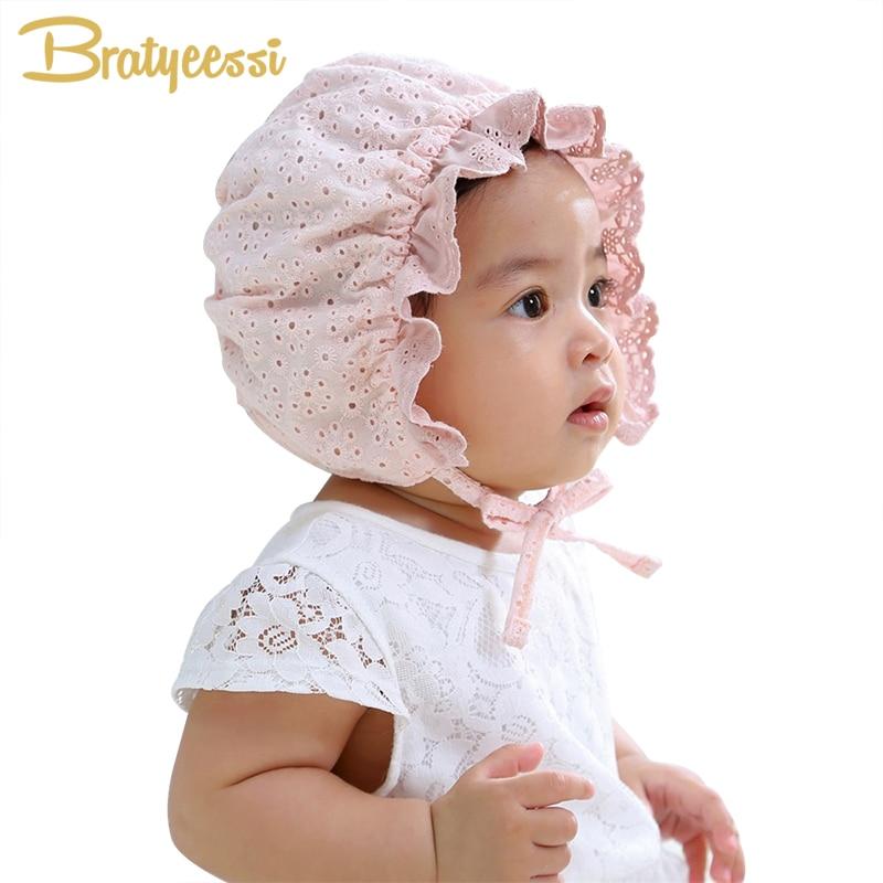 Herzhaft Mode Spitze Baby Mütze Für Mädchen Neugeborene Fotografie Requisiten Kinder Hut Sommer Baumwolle Baby Motorhaube Hut Infant Zubehör Weiß Rosa
