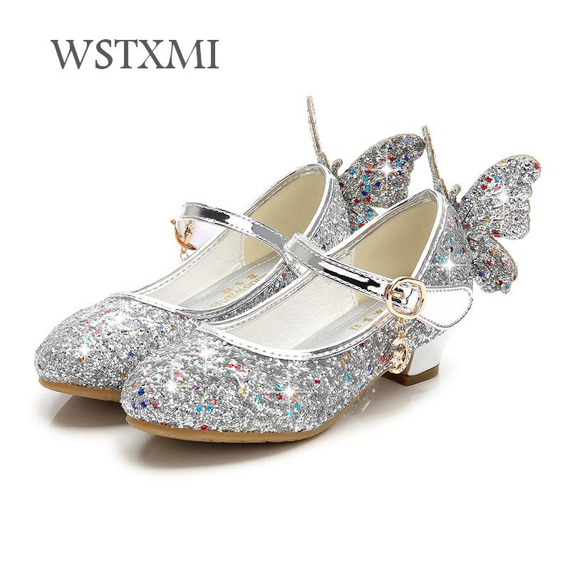 Children Shoes for Girls High Heel Princess Sandals Fashion Kids Shoes Glitter Leather Butterfly Girls Party Dress Wedding Dance girls pearl beading rhinestone sandals princess square heel pointed toe dress shoes children wedding party formal shoes aa51329