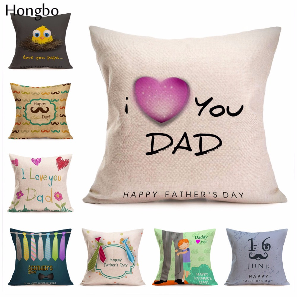 Hongbo Cushion Cover Happy Father Day I Love Daddy Cotton Linen Throw Waist Pillowcase f ...