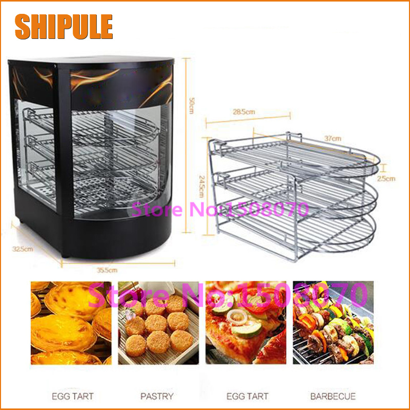 SHIPULE 2017 Best selling stainless steel glass food warmer/ food heating cabinet/ pie warmer machine with 3 layer churro display warmer deluxe stainless steel churro showcase machine with heat food warmer and oil filter tray