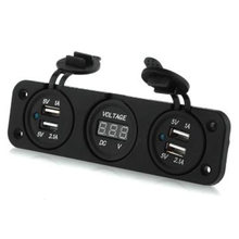 Dewtreetali new Car Auto 12V 4 USB Cigarette Lighter Sockets Adapter Charger With Voltmeter(China)