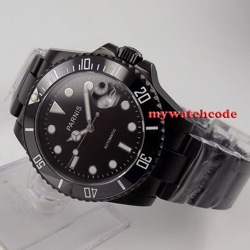 цена 40mm Parnis black dial PVD ceramic bezel MIYOTA sapphire glass Mens Watch 145 онлайн в 2017 году