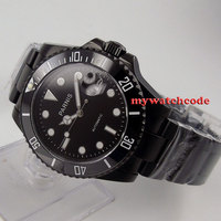 40mm parnis mostrador preto pvd cerâmica bezel miyota safira vidro relógio masculino 145