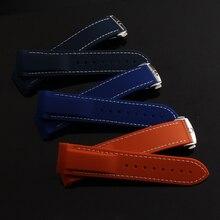 Темно-синий силиконовой резины watchband ремни загнутым концом 22 мм ремешок подходит для толстой спортивные часы особый тип серебряной пряжкой