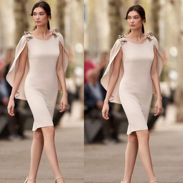 Simple Mother Of The Bride Dresses With Cape Sheath Short Knee Length Wedding Guest Dress Formal Party Gown Vestidos De Madrinha