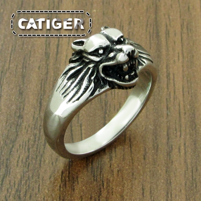 124d79d5e086 Punk 316L Stainless Steel Wolf Head Ring For Man Golden Plated Animal Women Ring  Jewelry