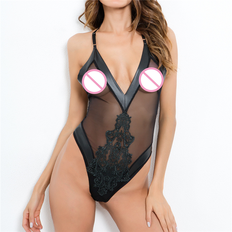 AIIOU Sexy Mesh Women Bodysuits See Through Party Lace Hollow Out Bodysuit Rompers Women Sleeveless Strap Transparent Bodysuit