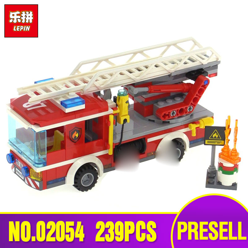 Lepin 02054 Genuine City Series 239Pcs The Fire Ladder Truck Set 60107 Building Blocks Bricks Educational Toys As Gift Model 380pcs fire branch city enlighten bricks toy for children ladder truck building blocks fire fighter figures boys gift k0411 910